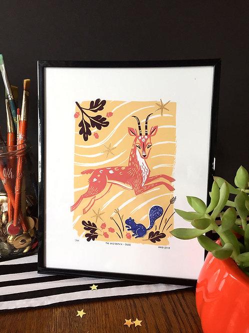 Wild Bunch Deer • Ltd Ed. embellished art print