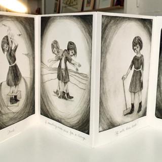 Alices & Gretas, livre d'artiste imprimé à la main, pointe sèche sur plexiglas, impression monoytype, 6 exemplaires, 2017