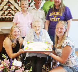 Pioneer resident reaches the century mark-As seen in the Barron News-Shield