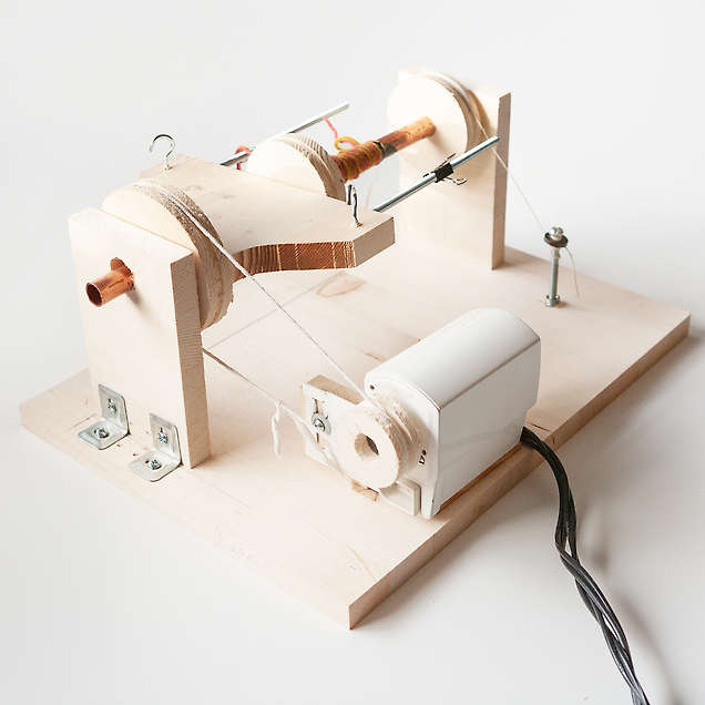 An electric spinning wheel for spinning yarn.