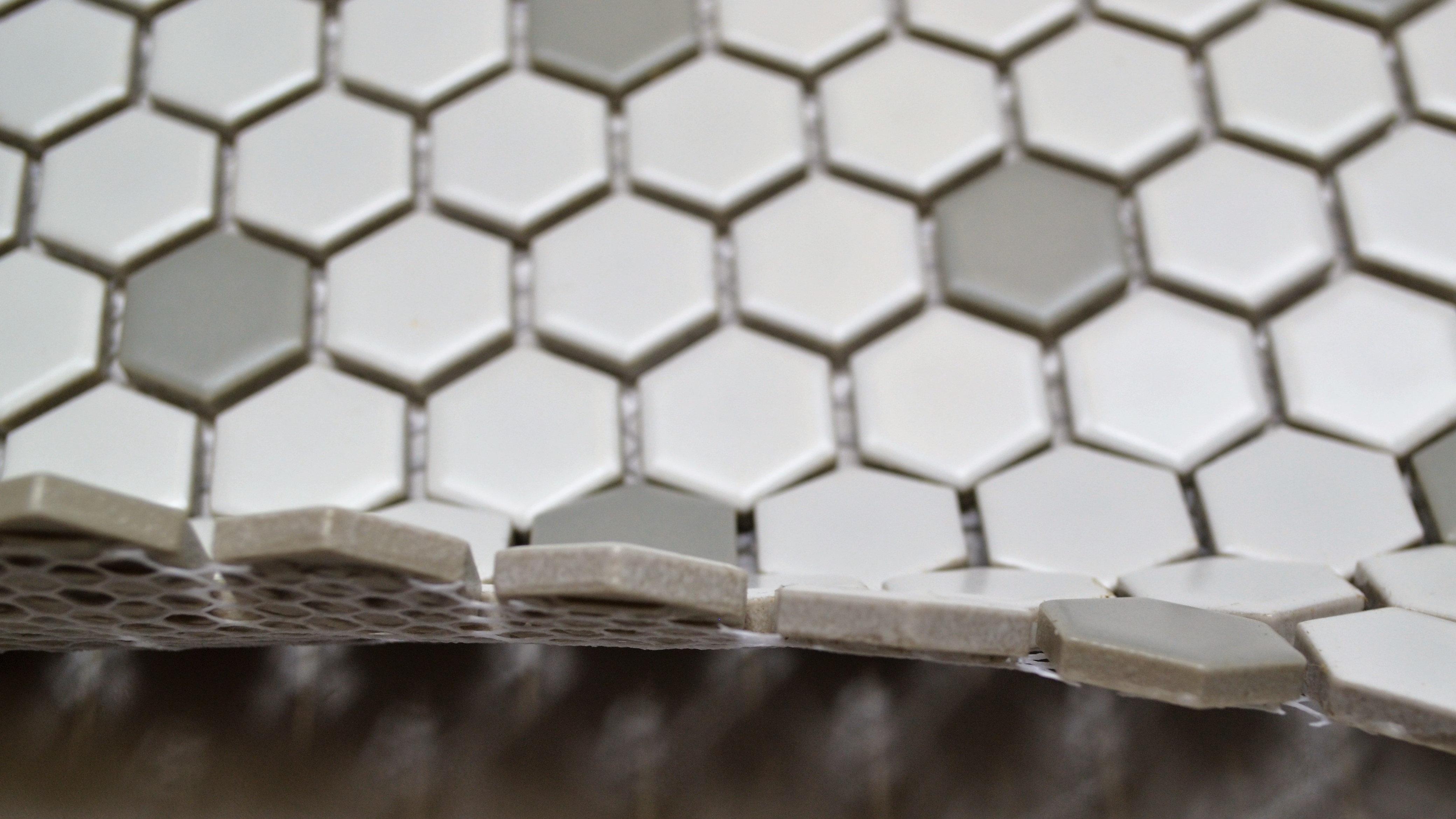 1 Quot Poka Dot Hex White Amp Gray Westchester Tile