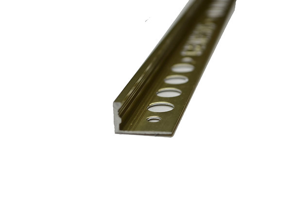 """3/8"""" x 8' Metal Trim L Shape Gold (10mm)"""