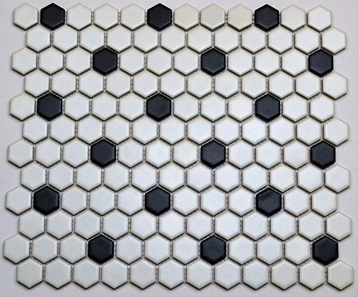 """1""""  Poka Dot Hex (white & black)"""
