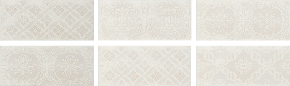"Chantilly Maiolica Biscuit Deco 4"" x 10"""