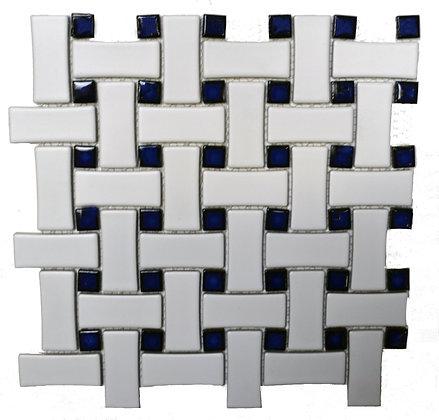 Basketweave White/Cobalt