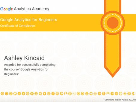 Google Analytics for Beginners Certificate