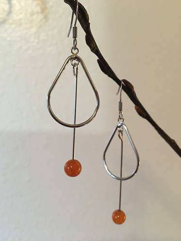 Orange & Silver Earrings