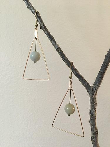 Moon Stone Triangular Earrings