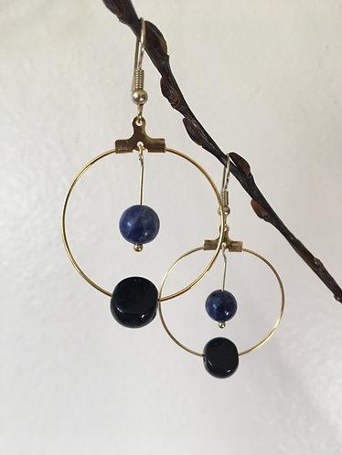 Black, Blue & Gold Earring