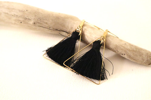 Gold Triangle Tassel Earrings
