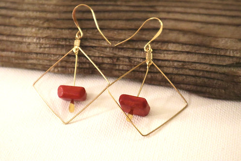 Red Drop Square Earrings