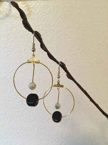 Black & White Gold Earrings