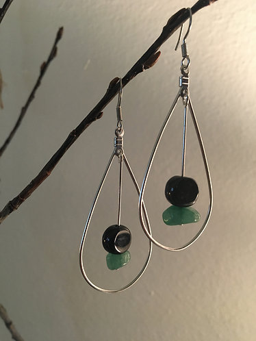 Black and Green Silver Earrings