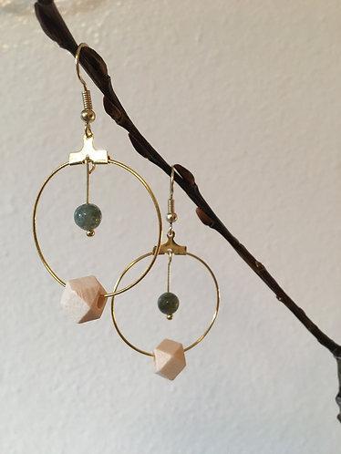 Wood & Green Gold Earrings