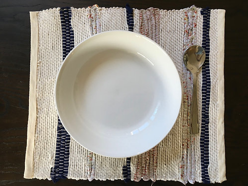 Woven Placemat -Blue and Orange