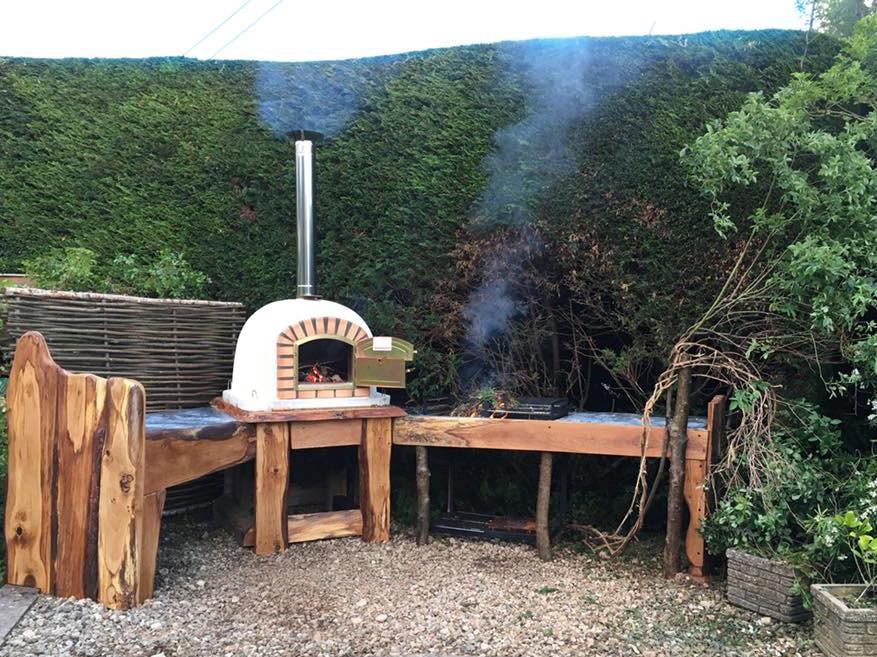 rustic wooden pizza oven garden design p