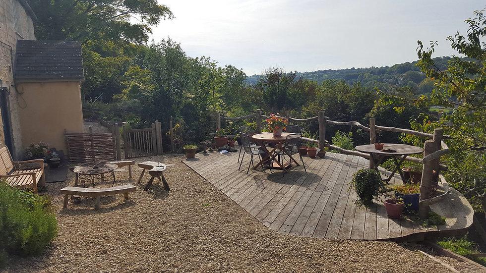 rustic wooden decking platform eco builders gloucestershire uk