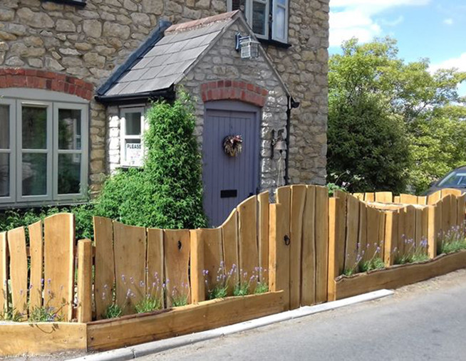 rustic wooden fence cottage planted fenc