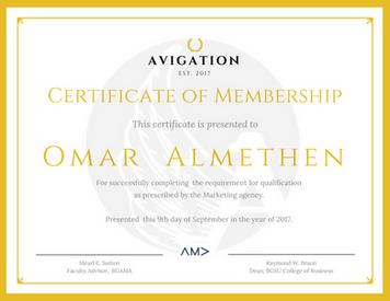 Avigation Certificate of Membership