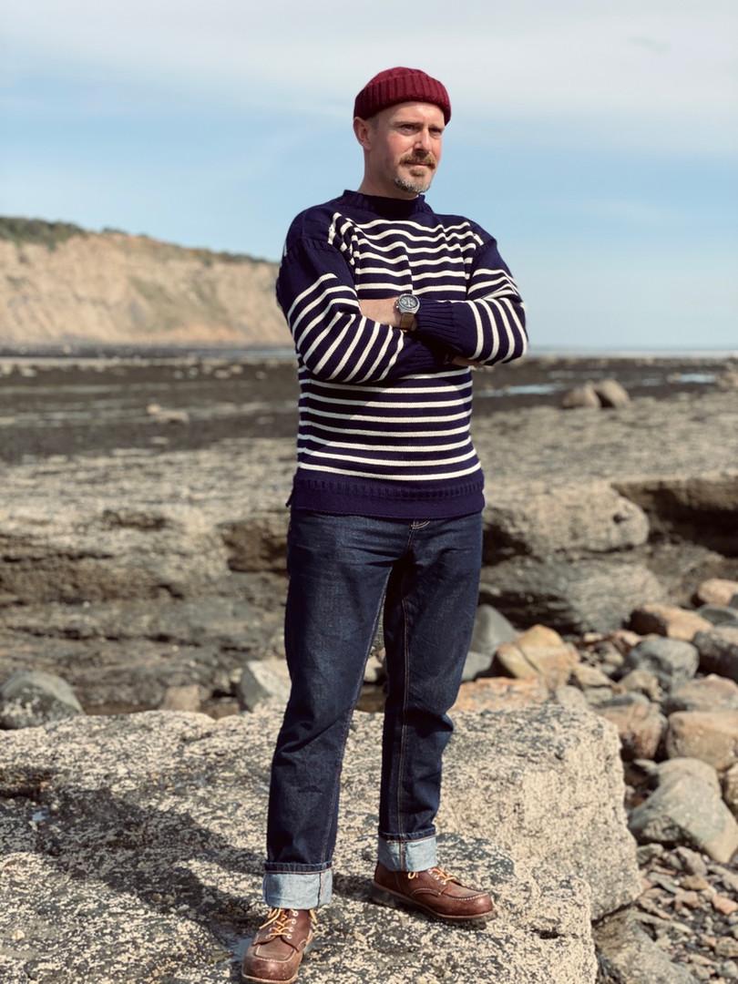 Breton Striped Jumper | Navy