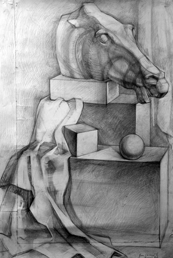 Натюрморт с головой лошади