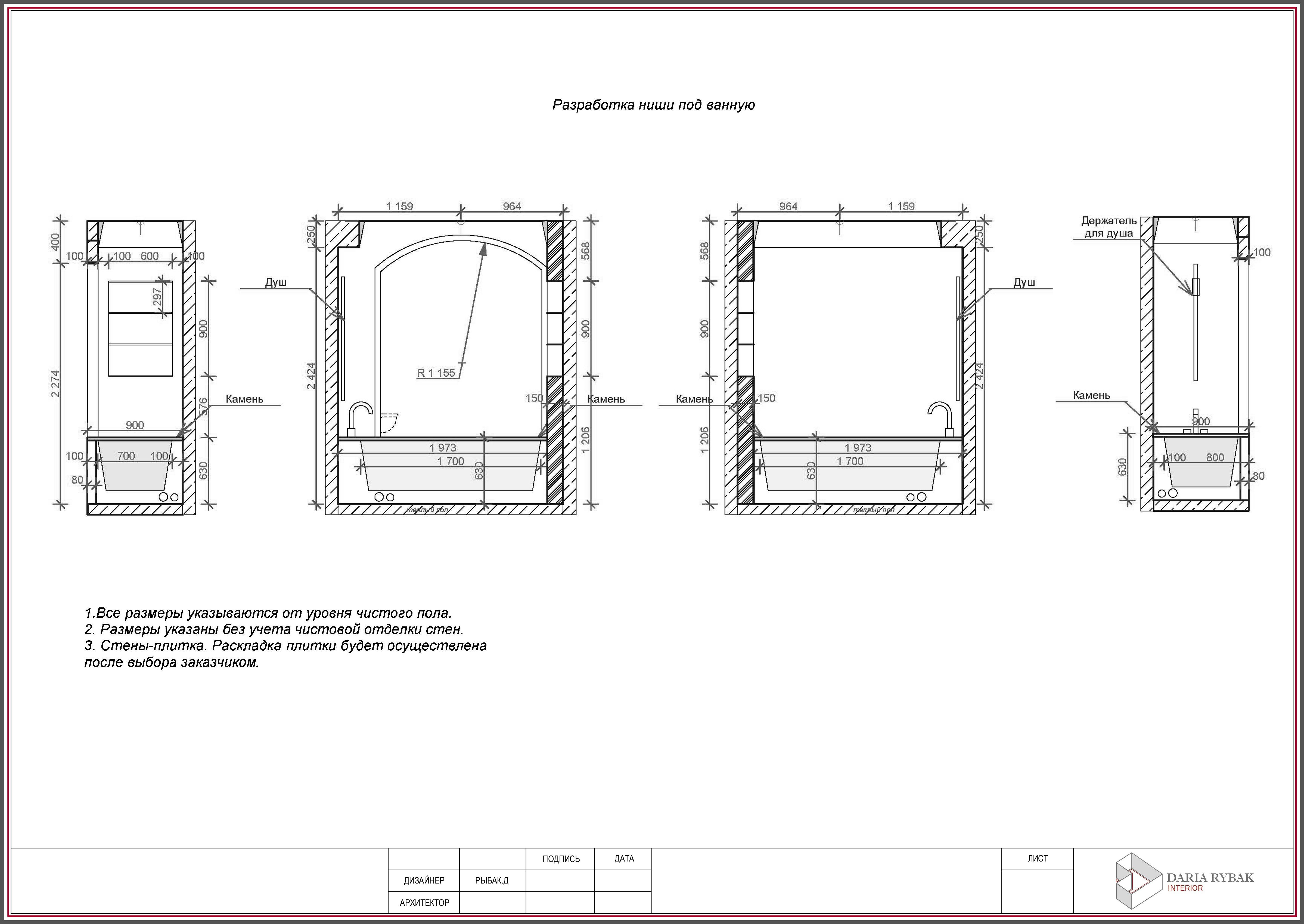 Разработка места для ванной
