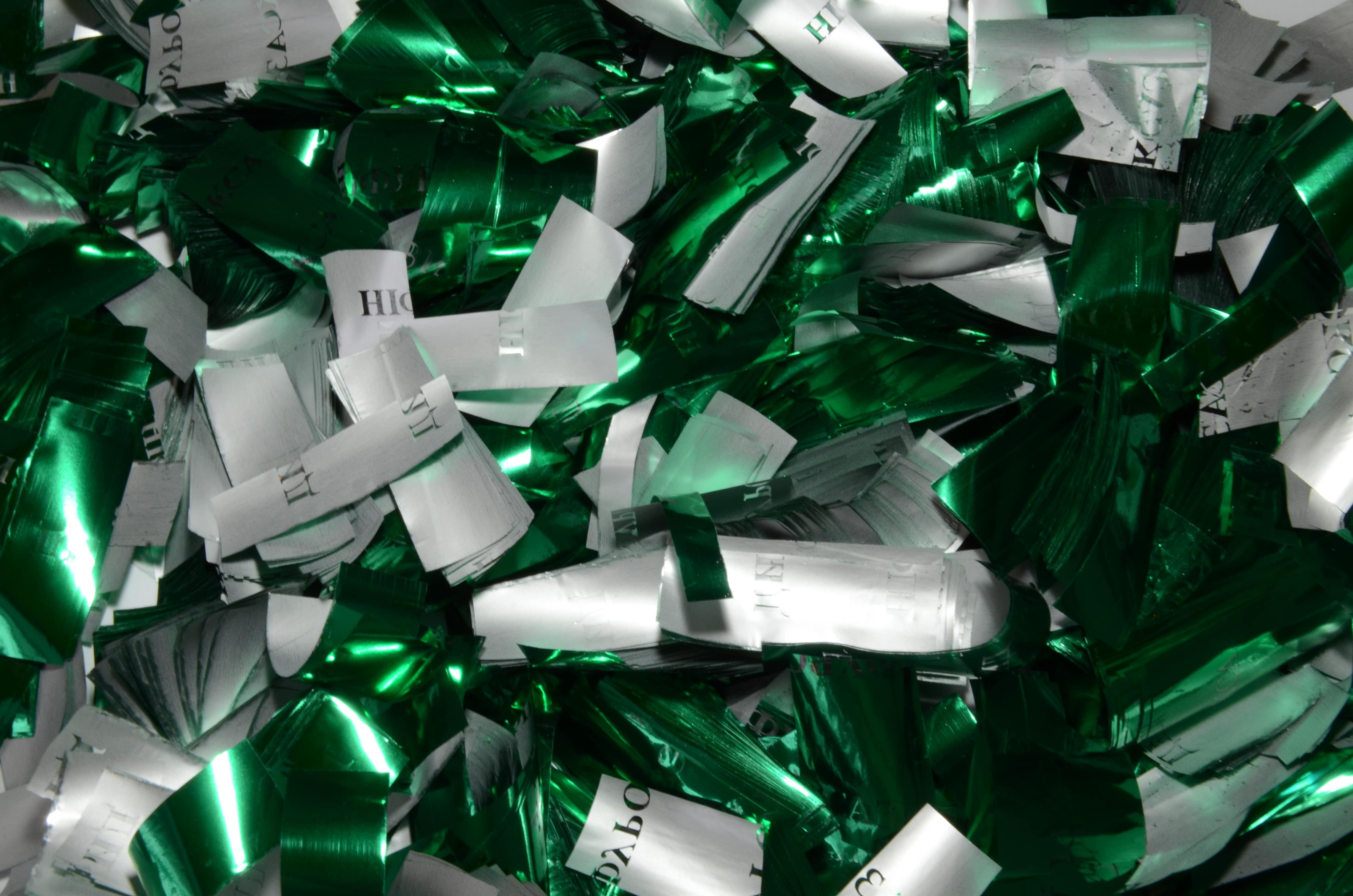 Конфетти зеленое-серебро