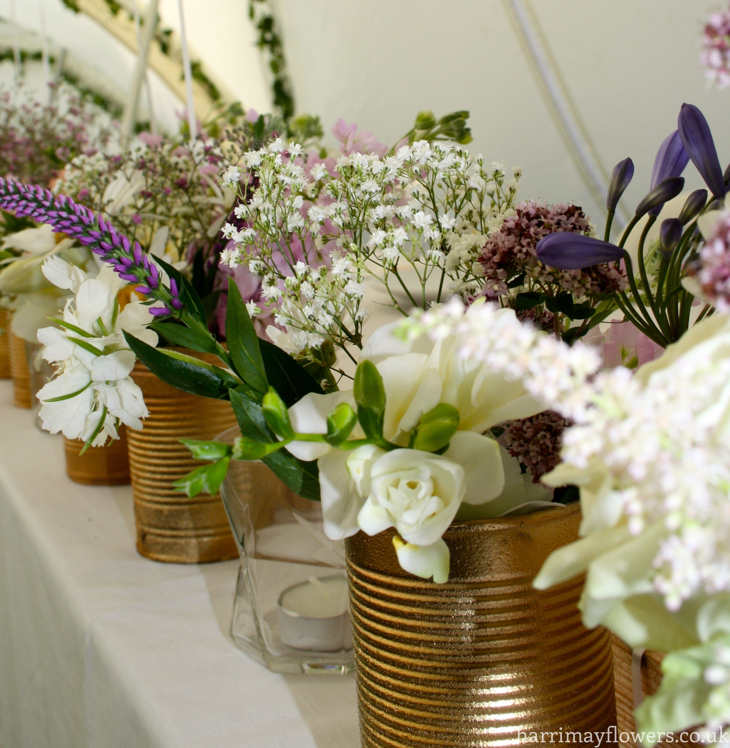 Top table multi vase arrangement