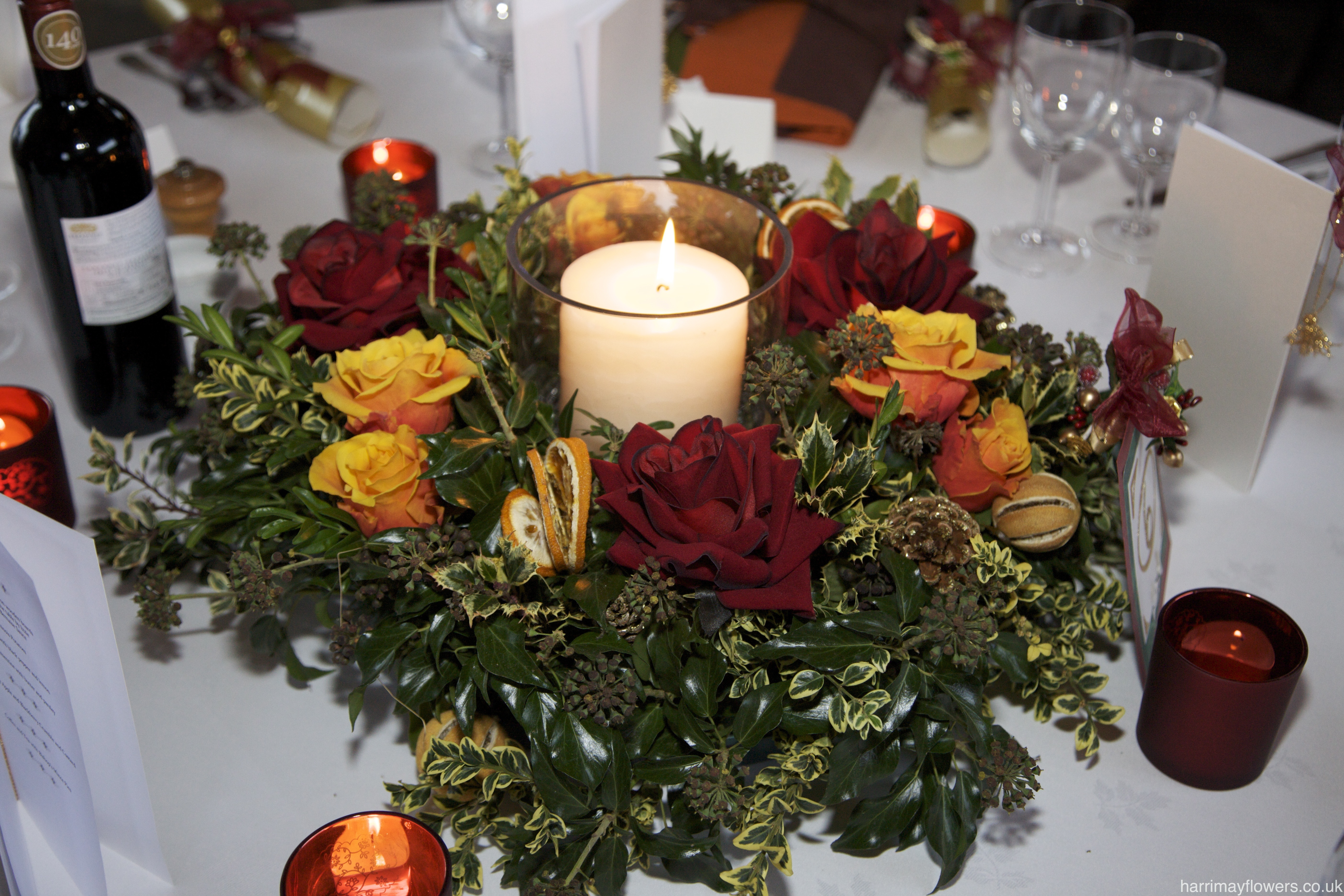 Winter Red Table Arrangement