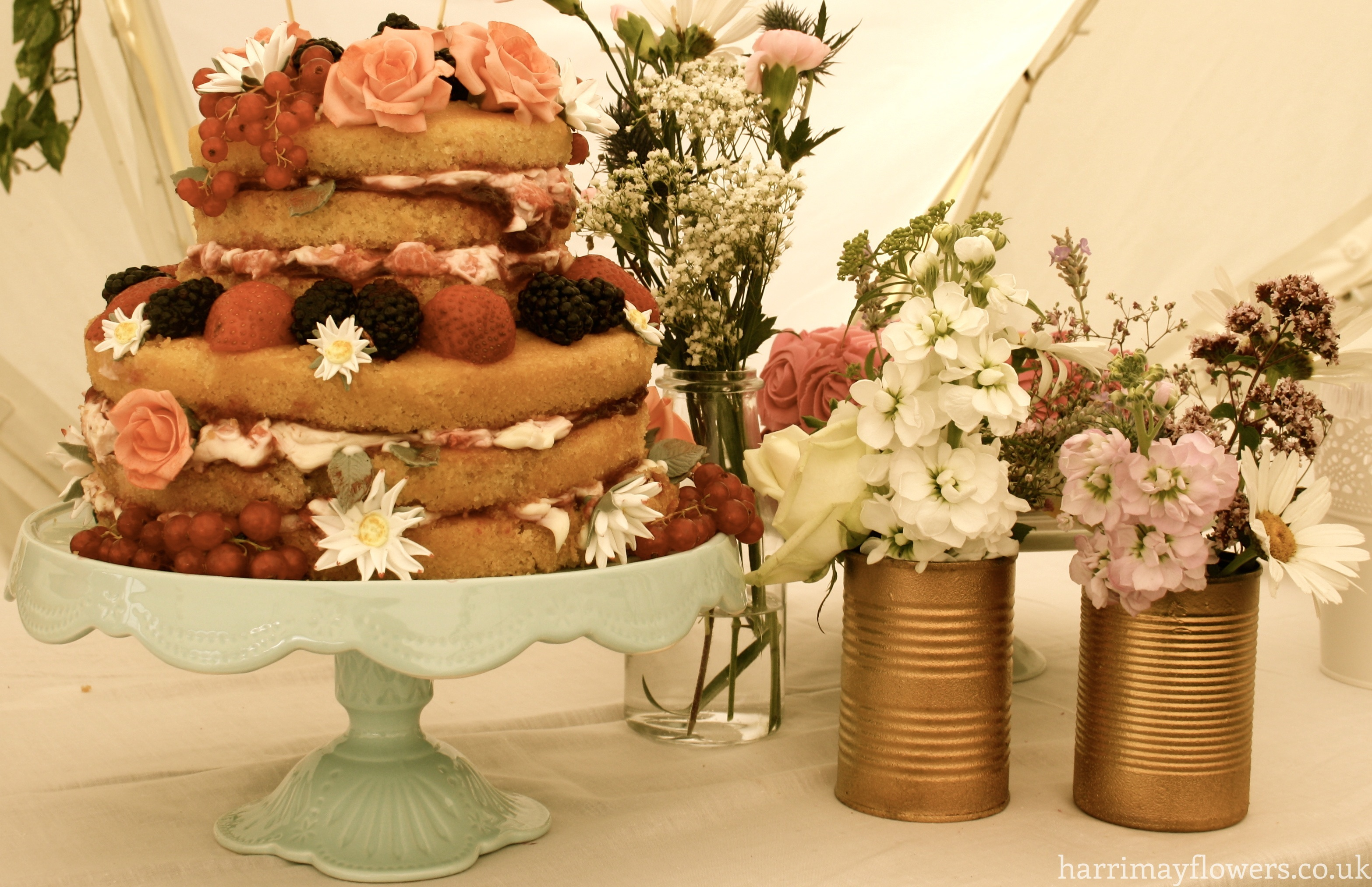 Cake table floral arrangement