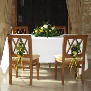 Yellow Registrar Table & Chairs