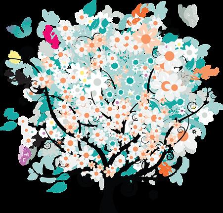 dessin arbre fleur fond transparent.png