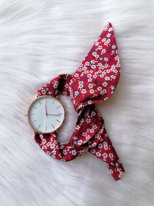 Montre bracelet red flower