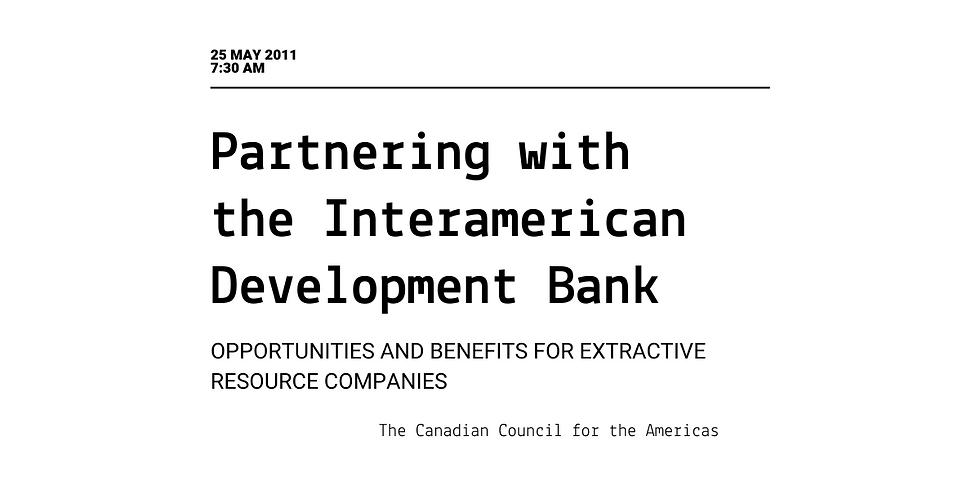Partnering with the Interamerican Development Bank