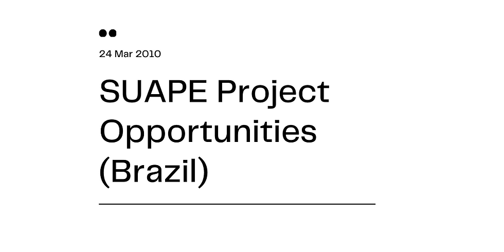 SUAPE Project Opportunities (Brazil)