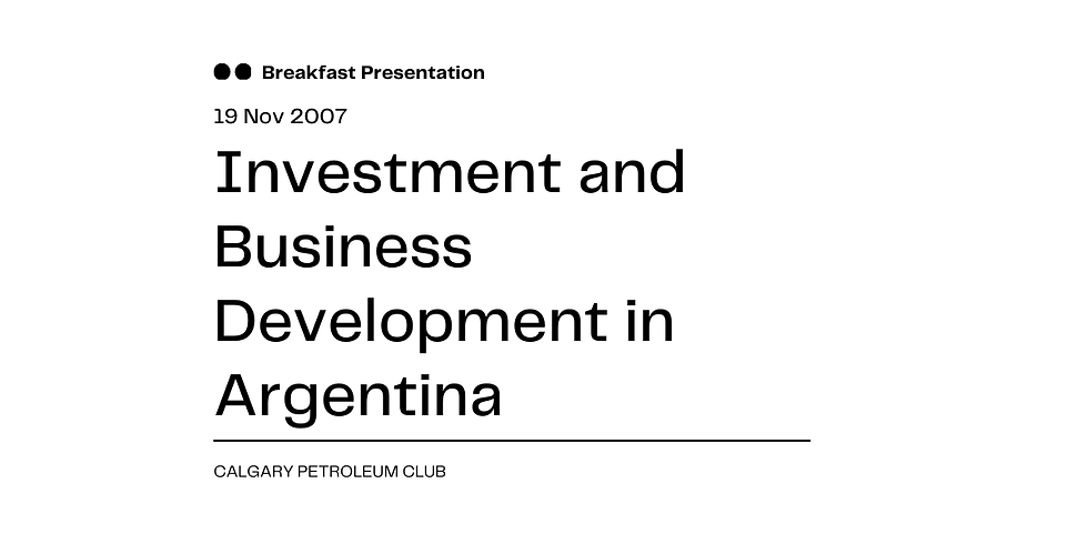 Investment and Business Development in Argentina