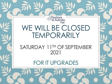 BUSINESS TEMPORARY CLOSED - 11.09.2021