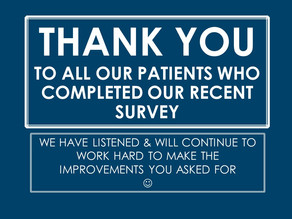 Thank you to all of our patients who completed our recent surveys