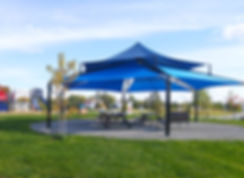 Abri solaire Shade, Multi Level Sails, Amos, parc Lions 2018.