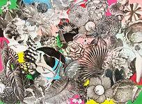 odile bouxirot art artiste epintre compost recuperation support bois techniques mixtes collage acrylique