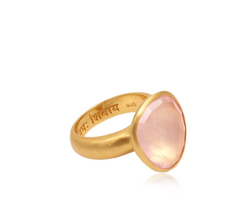 Om Namah shivaya Ring Rose Quart   Size 7