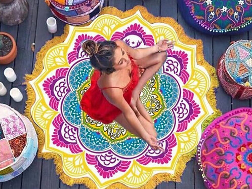 Mandala Sunblock Round Cover-Up Bath Towel Lotus Beach Mat