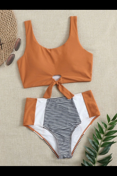 Striped Bottom Burnt Orange Bikini