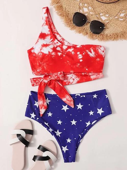 Side Tie RW&B Bikini