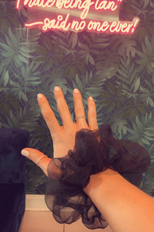 Oversized Black Mesh Scrunchie