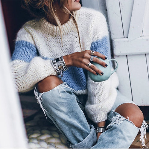 Long Sleeve Mohair Color Block Sweater