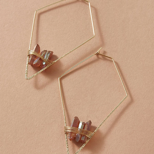 Copper Crystal Geo Earrings