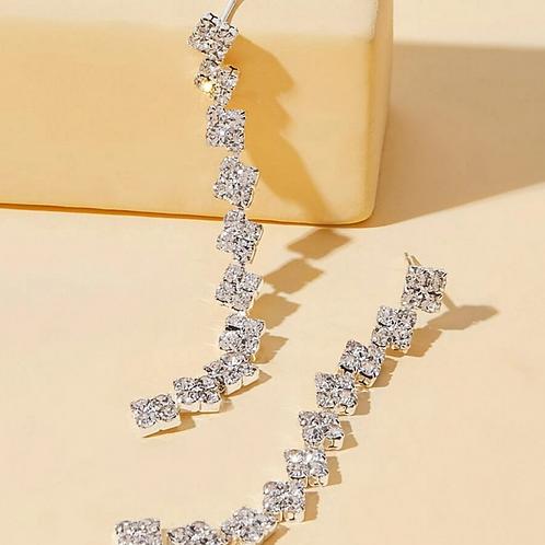 Rhinestone Fringe Drop Earrings