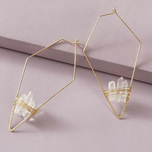White Crystal Geo Earrings