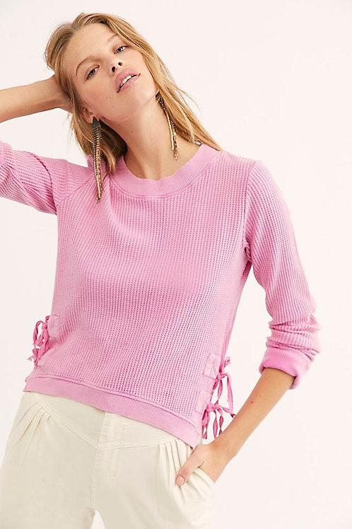 Cropped Waffle Knit Sweater